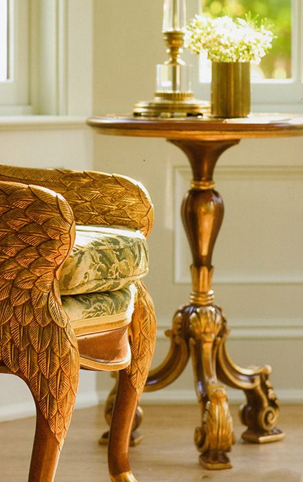 Decorating Ideas Louis Xiv Style Accent Table And Empire Carvedchair