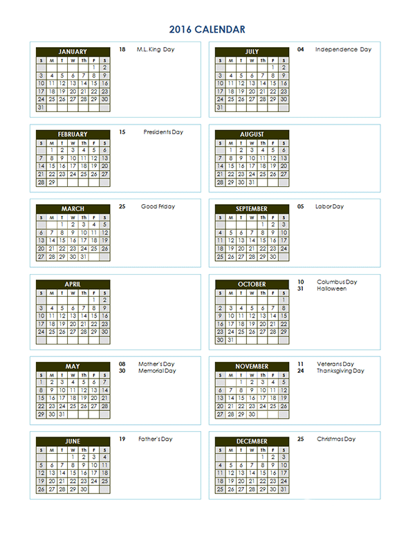 2016 Yearly Calendar Template 03 Planners Calendars To Do List