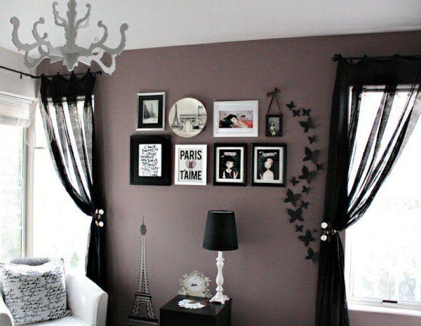 Fesselnd Wohnzimmer Farbideen Wandgestaltung Bilder Lila Grau Farbe Gardinen