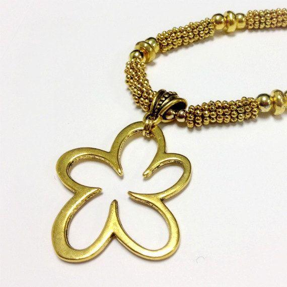 Gold Necklace Flower Pendant Jewelry Fashion Jewellery by cdjali, $25.00