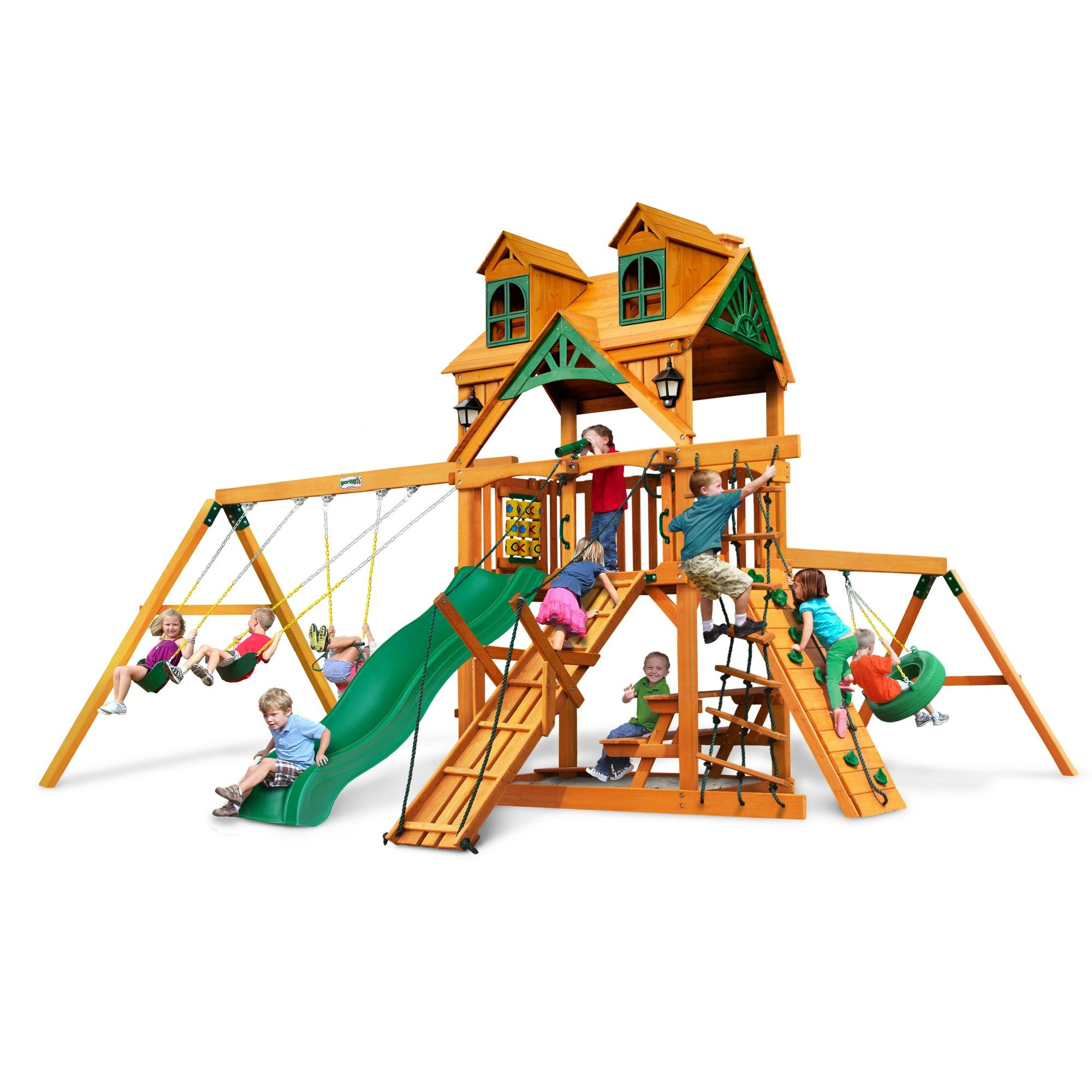 Gorilla Playsets Malibu Frontier Swing Set With Amber Wood Roof