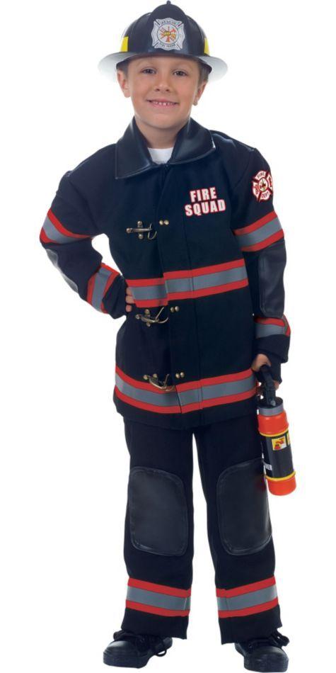 Puppen & Zubehör Deluxe Black Fire Fighter Kids Costume