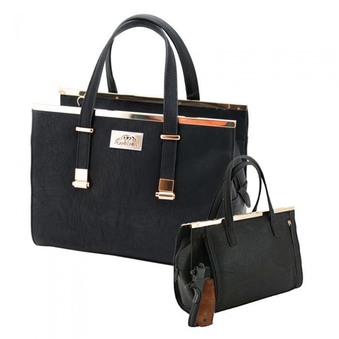 Cameleon Concealed Carry Handbags . . . because self-defense should never go out of style! There are over 20 million women in the United States that own their own firearm. However, these guns can not protect them if they are at home locked inside a gun safe. When it comes to discreetly carrying their guns, … Continue reading CORA Concealed Carry Purse – Black →