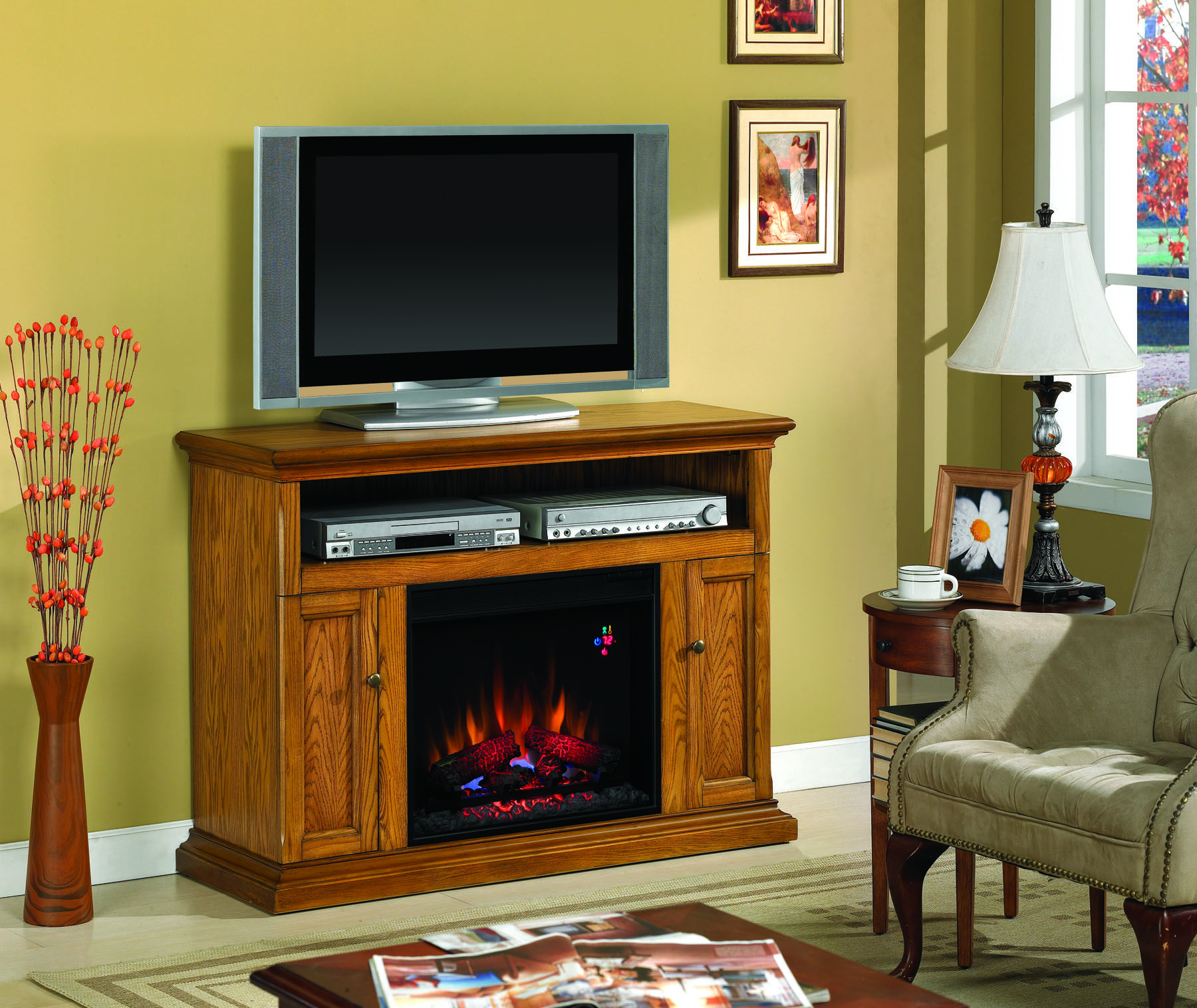 Elegantly Crafted Rustic Electric Fireplaces Oak Electric Fireplace