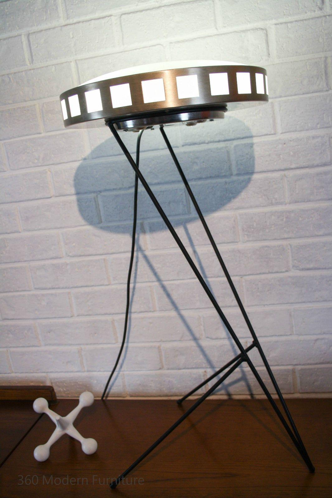 Kempthorne Lighting 1950s Australia Lamp Shade With Custom Hairpin Stand Mid Century Modern Floor Table Ufo Retro Vintage Danish Sputnik Atomic