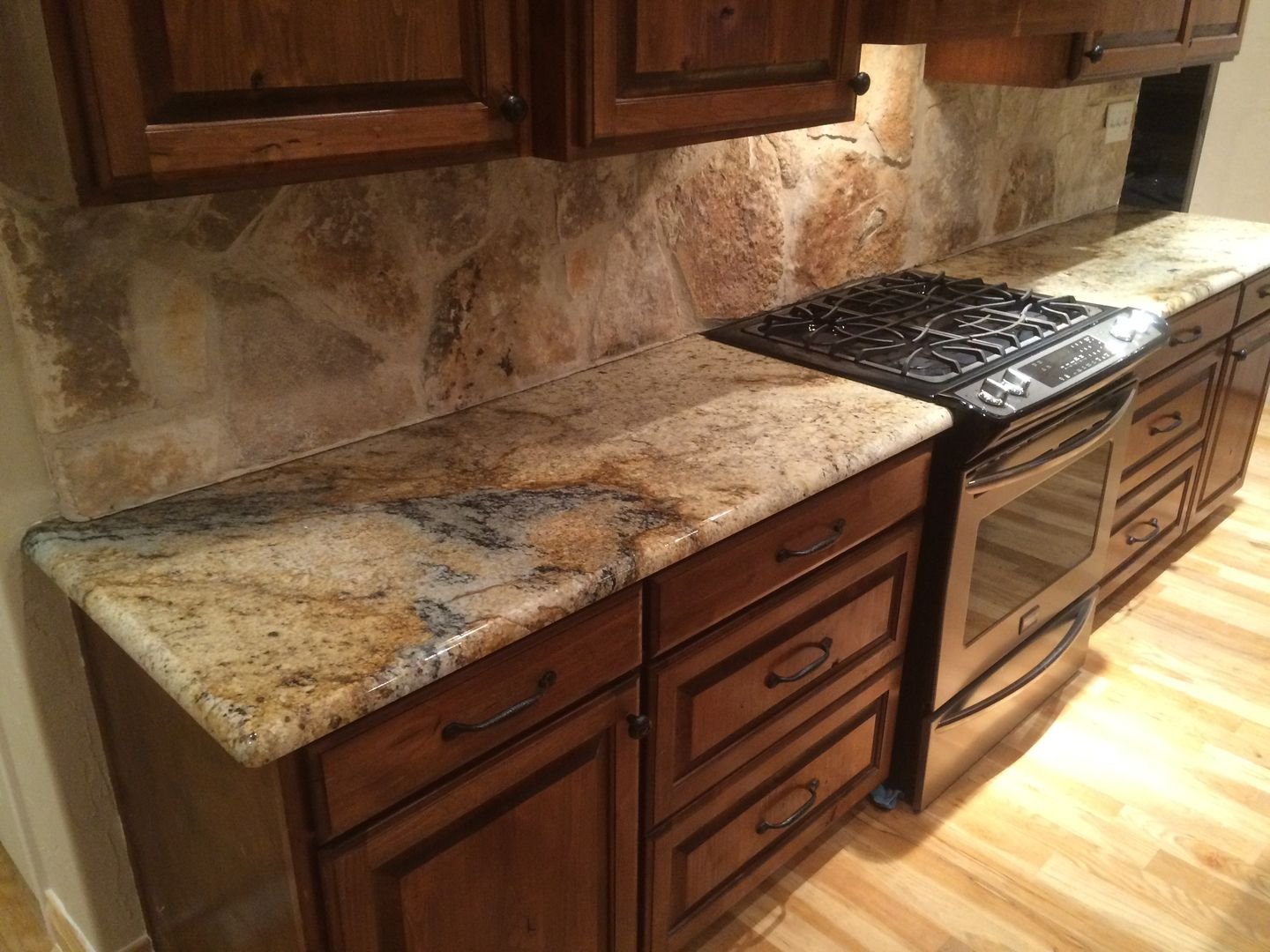 Sienna Beige Granite Kitchen Countertops Rock Backsplash Rustic Home Remodel Dark