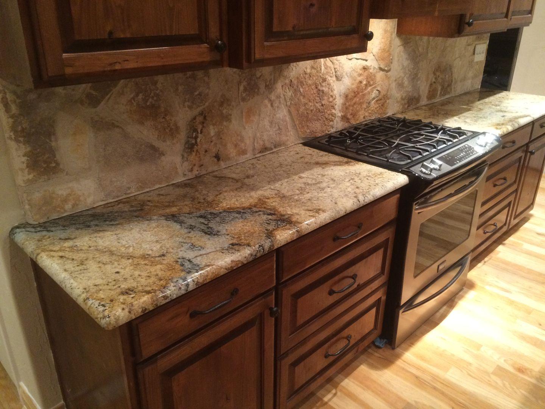 Sienna Beige Granite Kitchen Countertops Rock Backsplash Rustic Home Remodel Dark Ca Granite Countertops Kitchen Rustic Countertops Granite Countertops