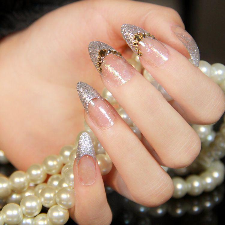 New 2014 French wedding glitter silver 3d rhinestone decor full ...