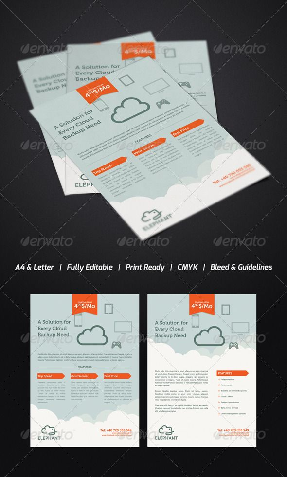 Elephant Cloud Flyer Print Templates Flyers Commerce For Better
