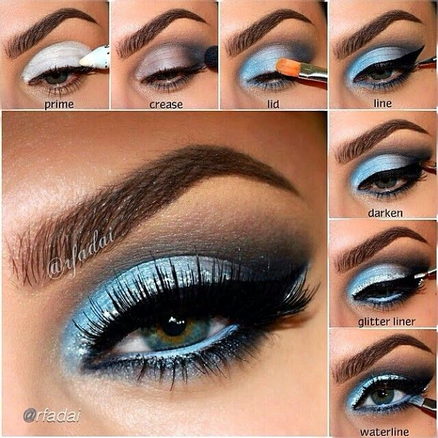 Notice the brushes & where the cat eye line starts. Subtle glitter