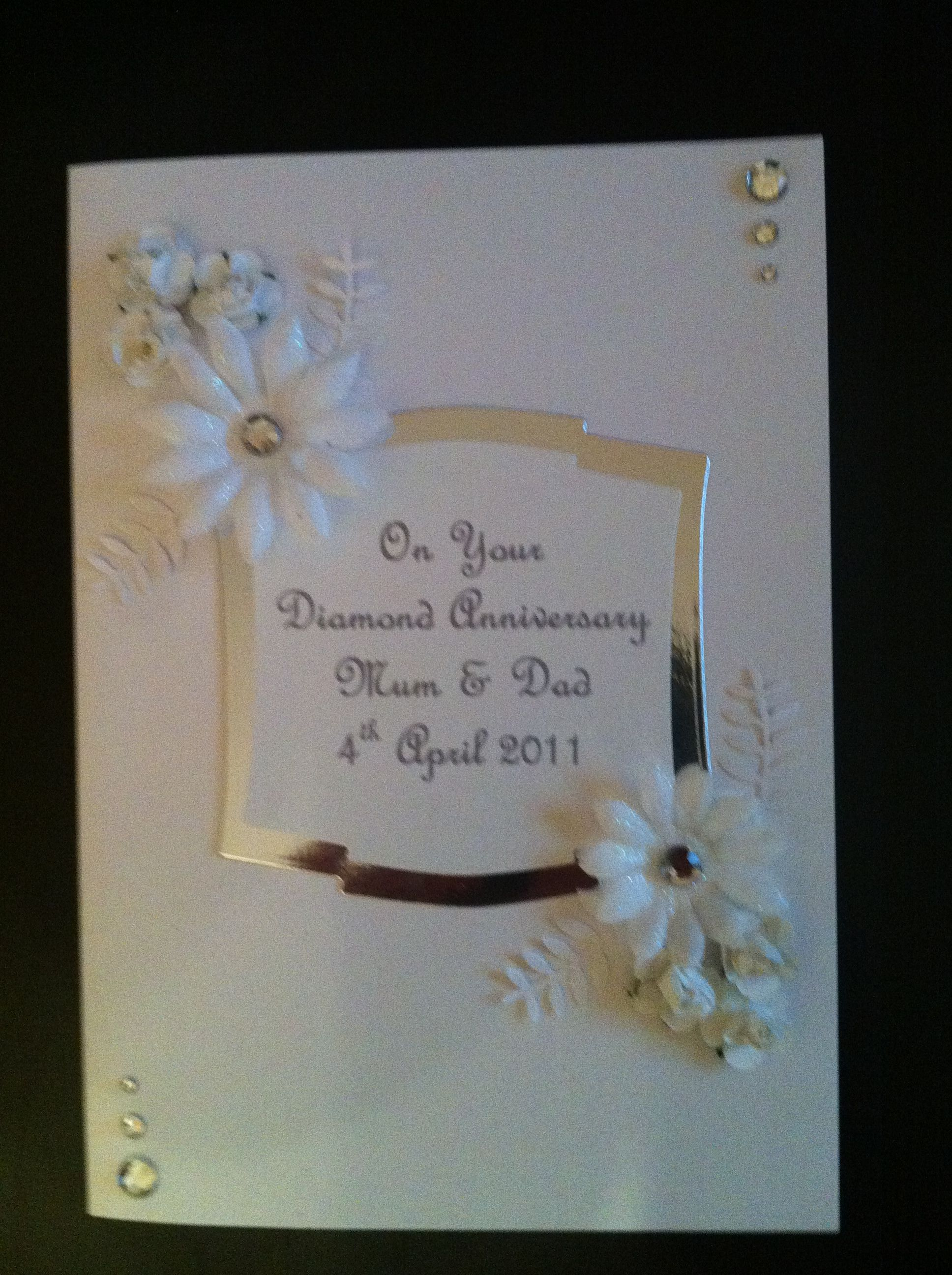 Handmade diamond wedding anniversary card cards pinterest