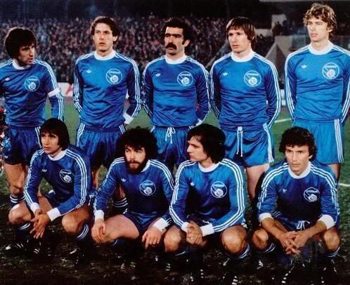 RC STRASBOURG 1979  Debouts : Duguépéroux, Marx, Domenech, Specht, Wenger Accroupis : Wagner, Tanter, Piasecki, Jouve