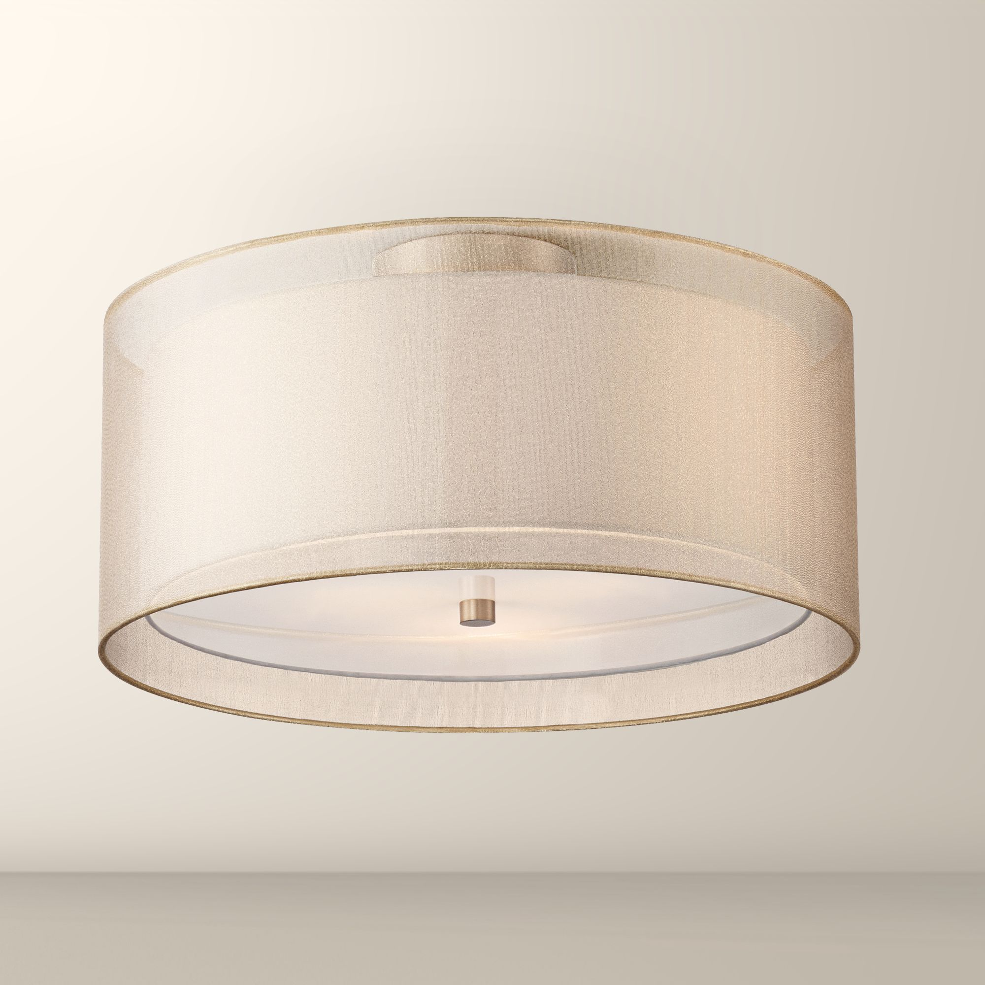 Possini Euro Double Drum Champagne Ceiling Light Eu1f072 Euro