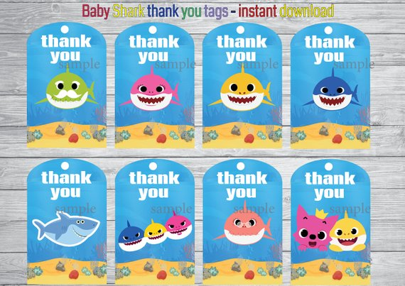 Printable Baby Shark Thank You Tags Instant Download You Will Receive 1 Jpeg Files High Resolution Baby Shark Shark Birthday Party Shark Party Favors