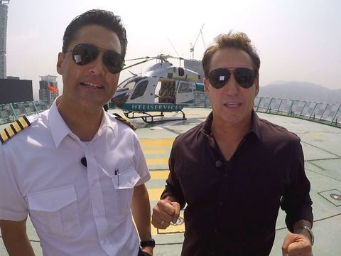 """""""Extra's"""" Michael Corbett enjoyed the sights of Hong Kong while taking a helicopter ride."""