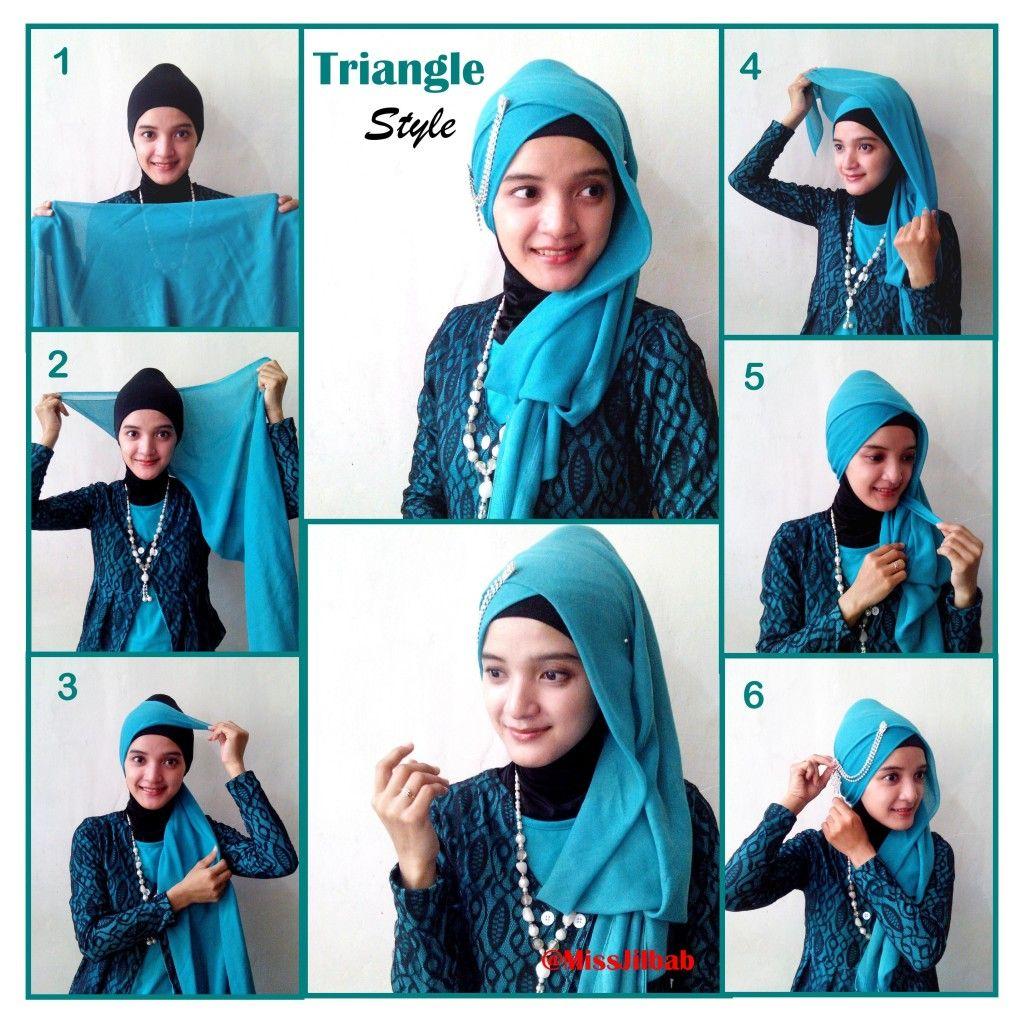 How to triangle wear scarf hijab foto