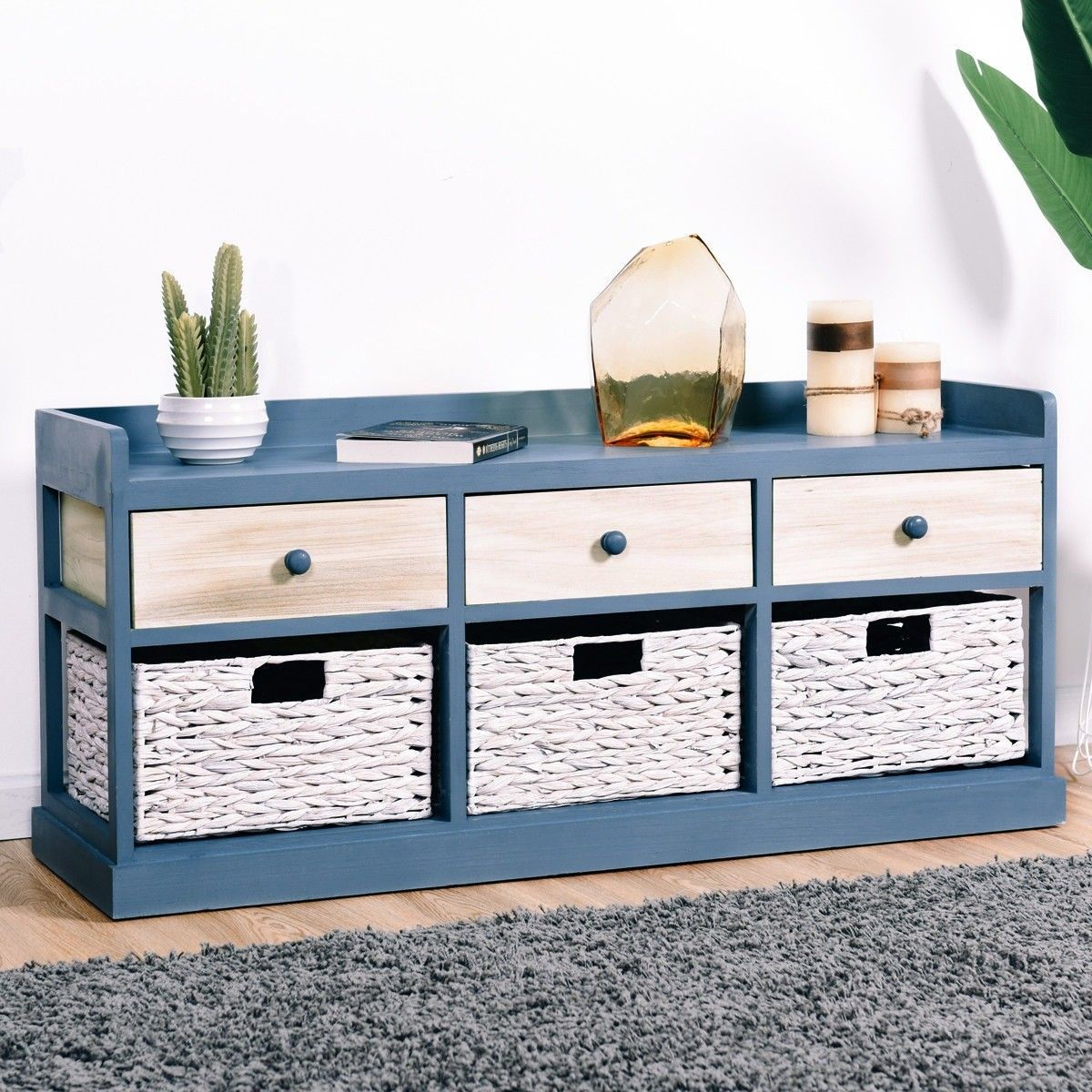 Side Table Chest Cabinet W 3 Wood Drawers And 3 Baskets Wood