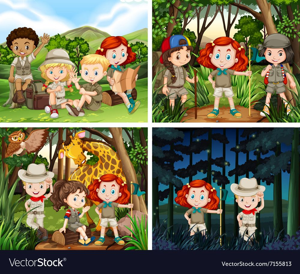 Four scenes of children camping in the woods vector image