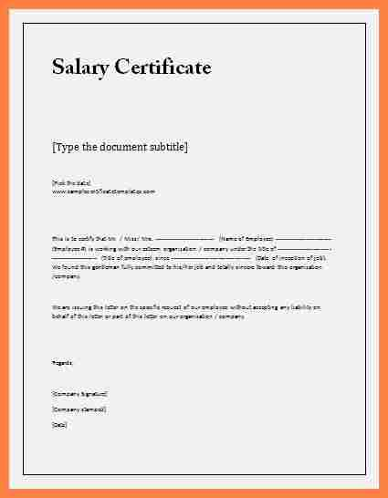 8  salary certificate letter format word