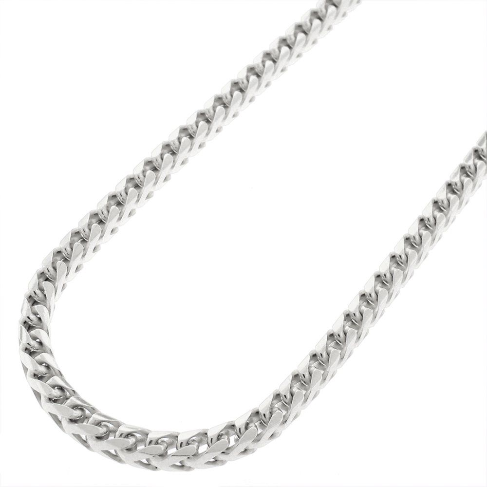 "925 Sterling Silver 3.5mm Solid Franco Rhodium Plated Necklace Chain 24"" 26"" 28"" 30"" (28 Inches). Material: .925 Sterling Silver. Length: 24"" 26"" 28"" 30"". Width: 3.5mm. Weight: Approx. 1.7 grams per inch. 925 Italy Stamped."