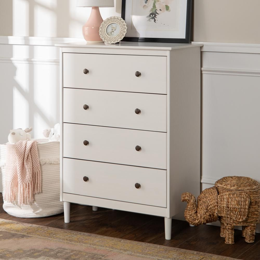 Walker Edison Furniture Company Classic Mid Century Modern 4 Drawer White Solid Wood Dresser Hdr4ddrwh The Home Depot In 2020 Solid Wood Dresser Small White Dresser Storage Furniture Bedroom