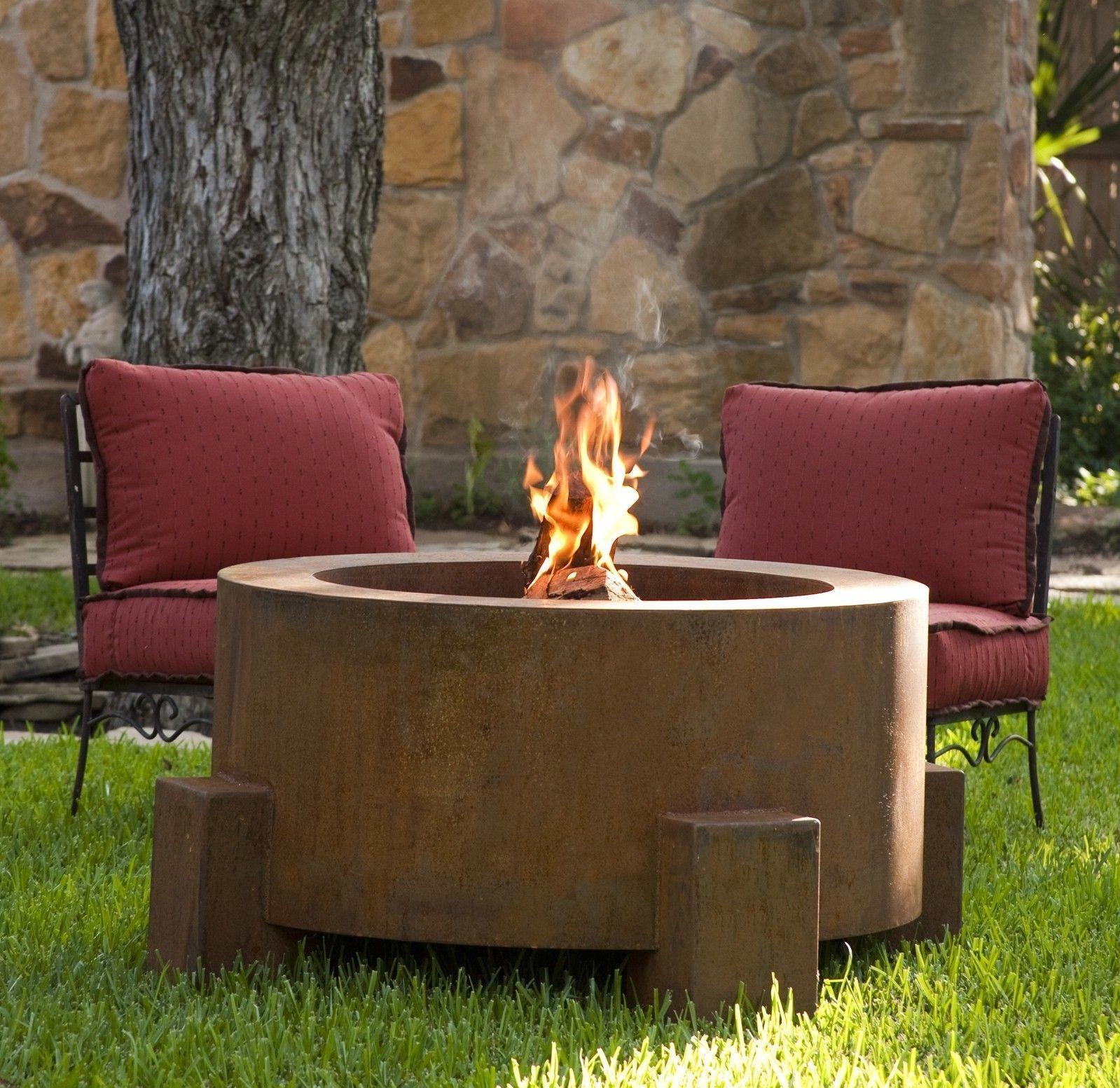 38 round corten steel fire pit outdoor fire pit