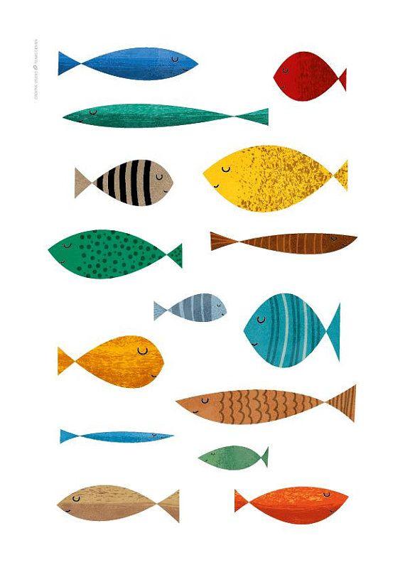 Baby nursery art, fish decor, fish print, baby room decor, nursery decor, nursery wall art, nursery art print, nursery art decor, fish art