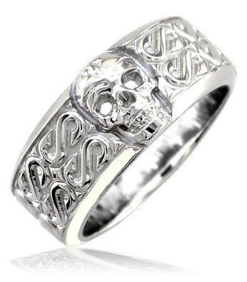 Mens or Ladies Wide Skull Ring Wedding Band with S Pattern 9mm in