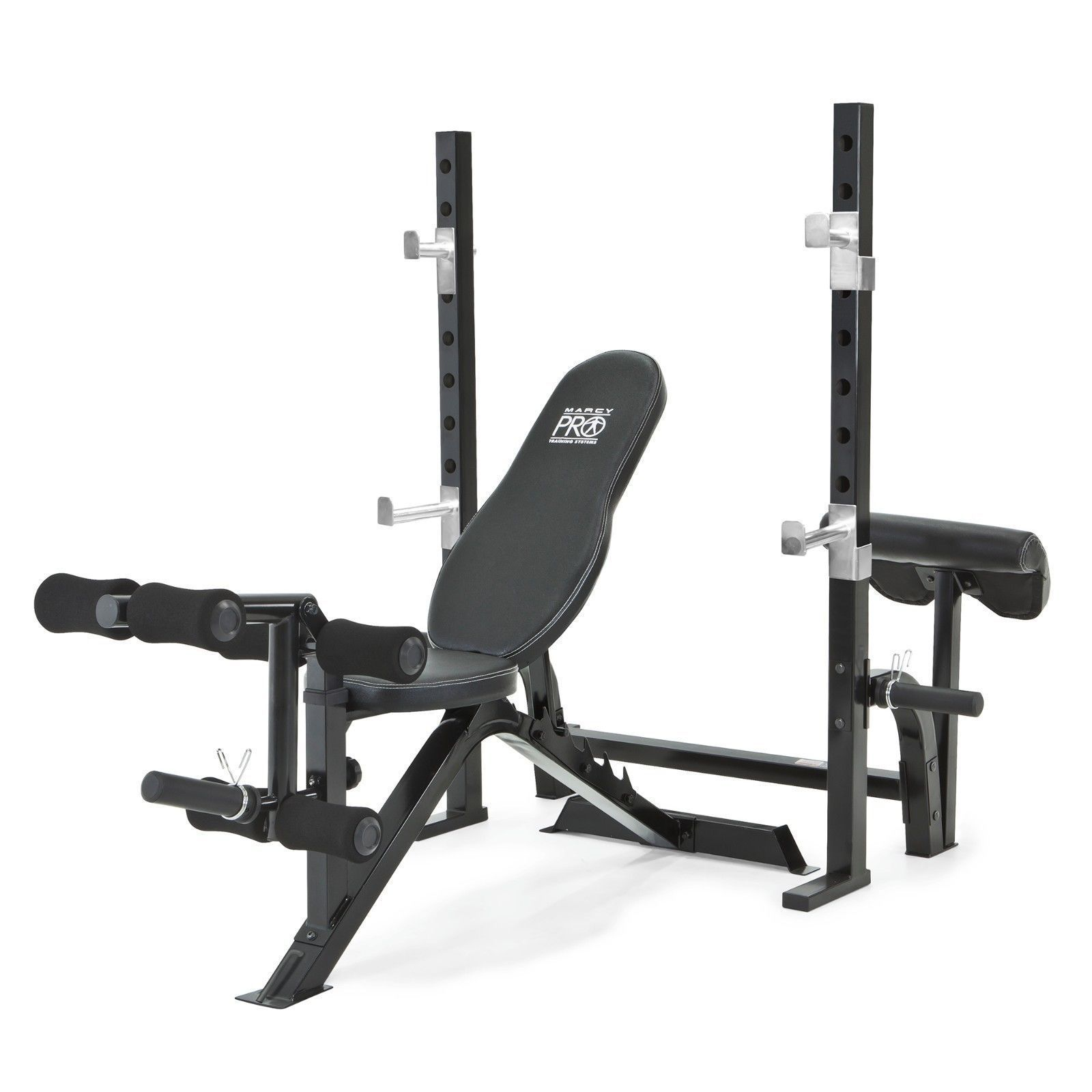 Marcy Pro 2pc Olympic Bench And Squat Rack Pm 842 W Preacher Curl Pad Work Out Wear Exercise Benches Olympic Weights Weight Benches