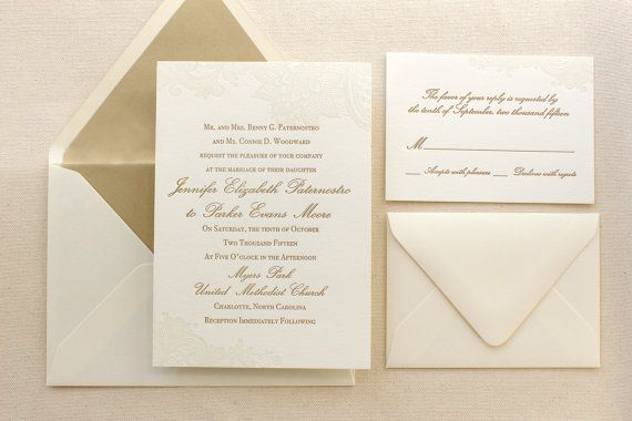 Letterpress Classic Wedding Invitations Gold Wedding Invitations Traditional Wedding Invitations