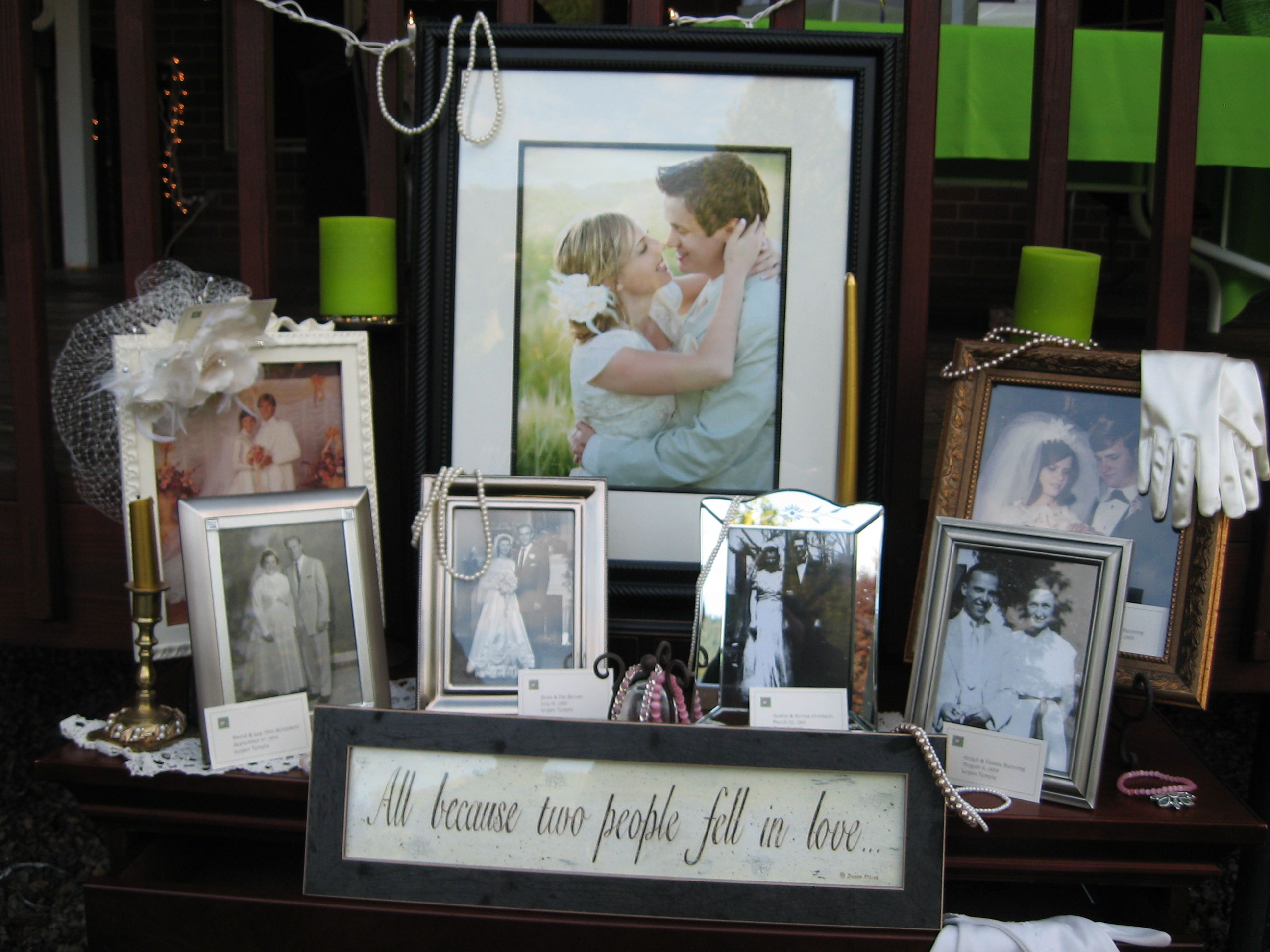 i love this idea of having wedding photos of your family displayed
