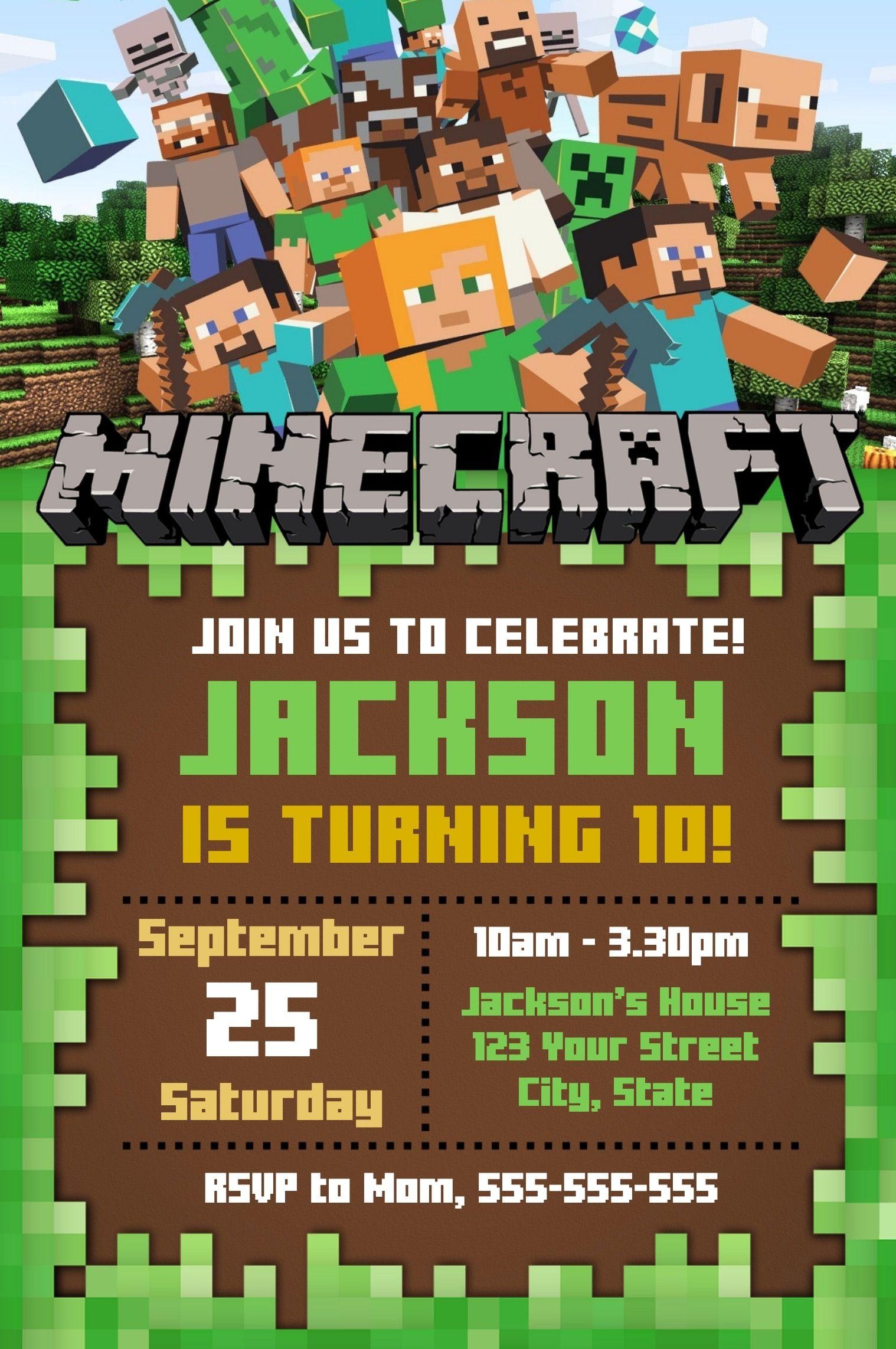 Editable Minecraft Invitation Online Invitation Maker Indigo Invites In 2021 Minecraft Invitations Minecraft Party Invitations Minecraft Birthday Invitations Minecraft birthday invitation template free