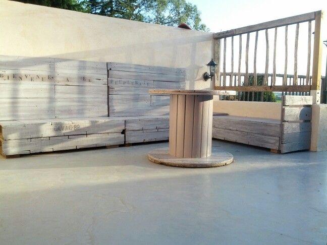 Salon de jardin en palette et touret | Vente de mes créations en ...
