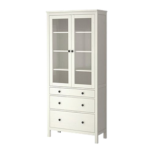 Hemnes Glass Door Cabinet With 3 Drawers White Stain In
