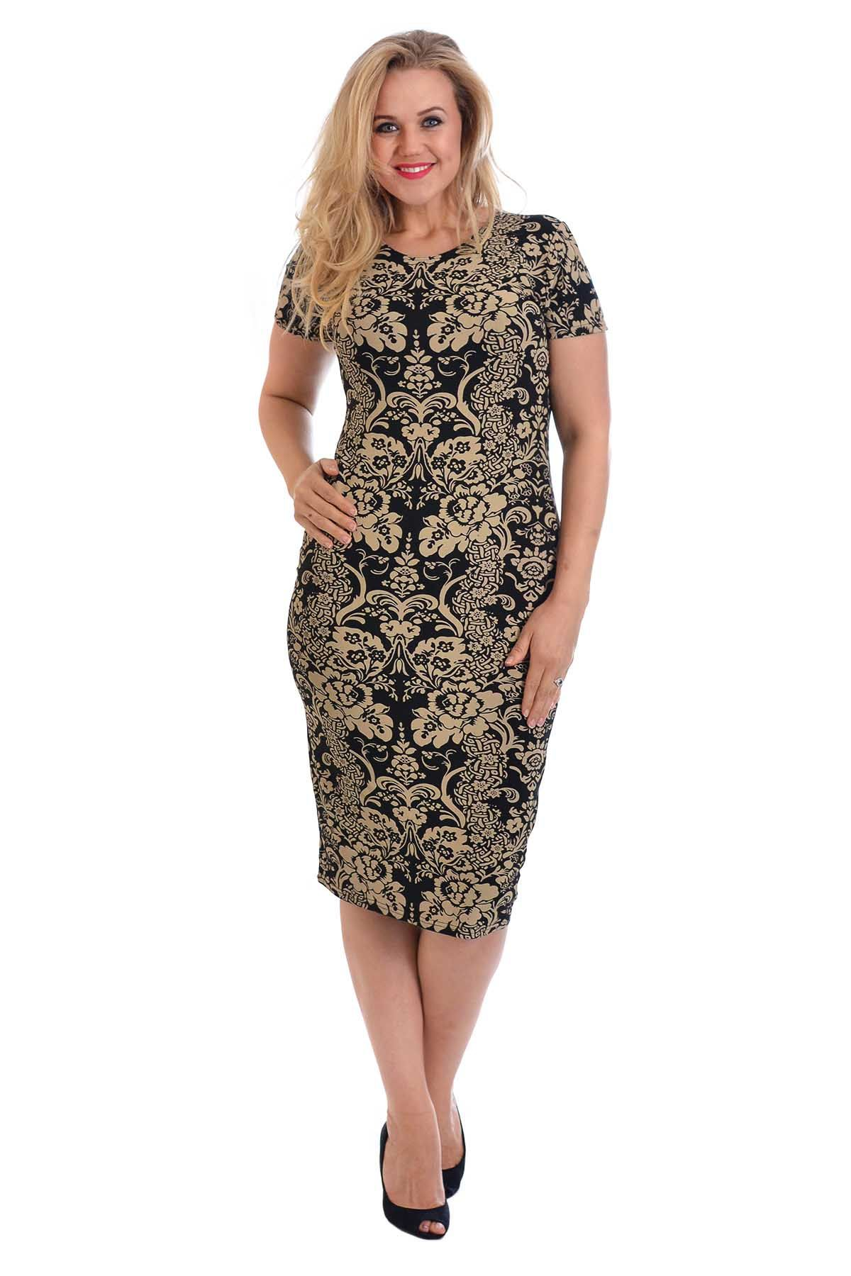 Womens Dress Plus Size Ladies Midi Floral Mid Bodycon Graphic Summer ...