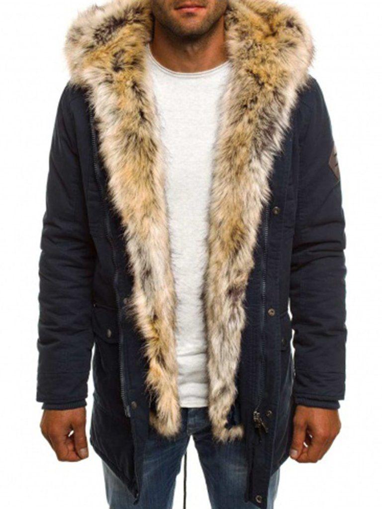 af8a0d29e5c Mid-Length Plain Faux Fur Zipper Thicken Warm Men s Winter Coat –  hebedress.com