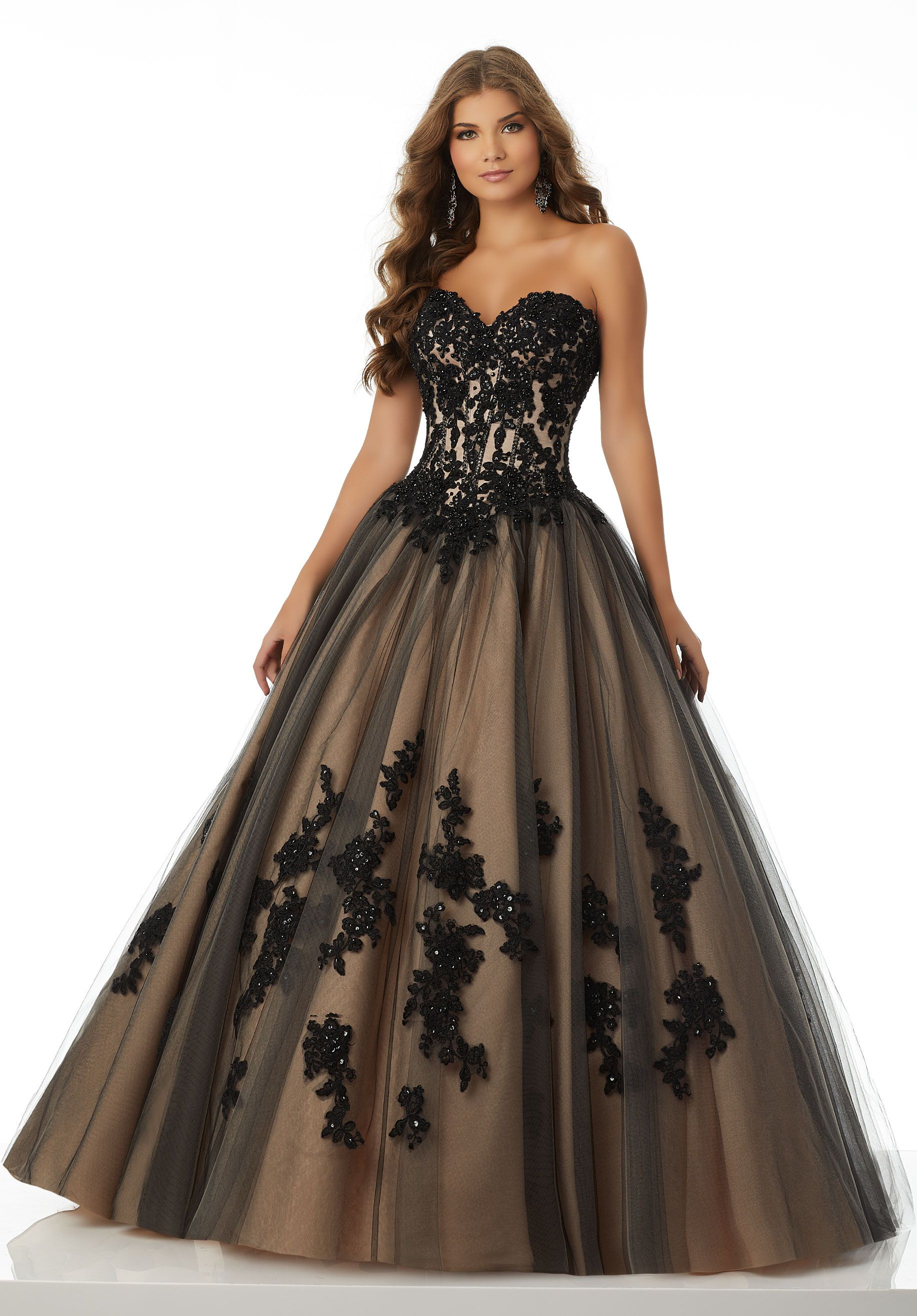 See through corset wedding dresses  Classic Tulle Ballgown Featuring an Exposed Boned Sweetheart Bodice