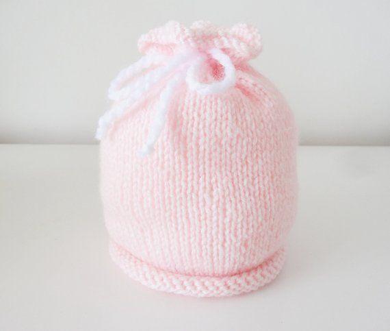 452192dc39a bonnet en laine rose clair pour bébé de naissance à 1 mois