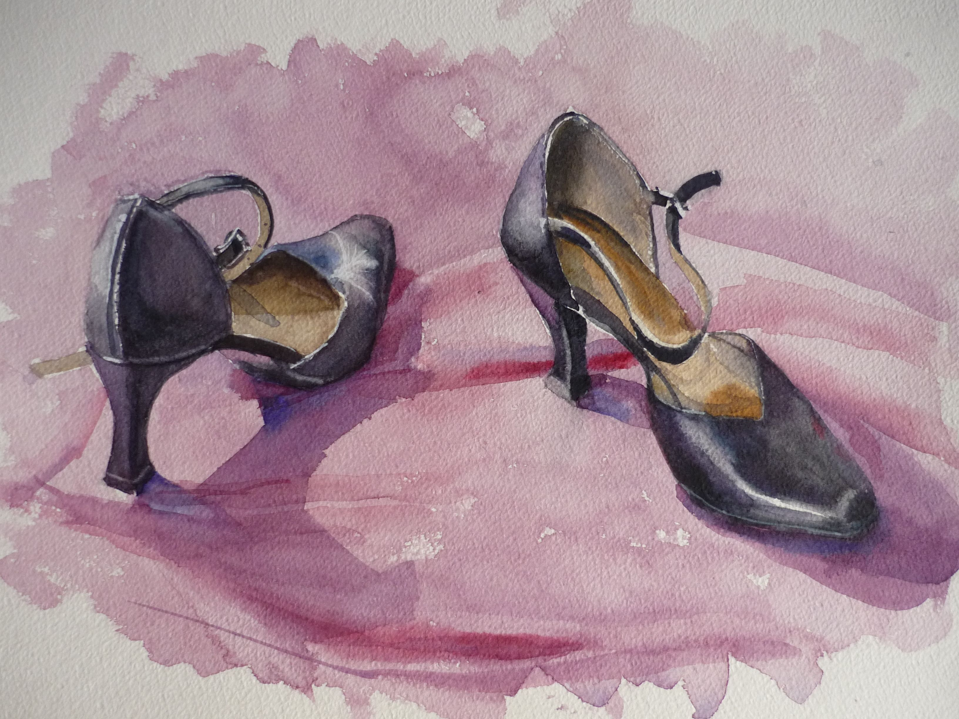 Tango Shoes Pink Background Tango Shoes Watercolor Background
