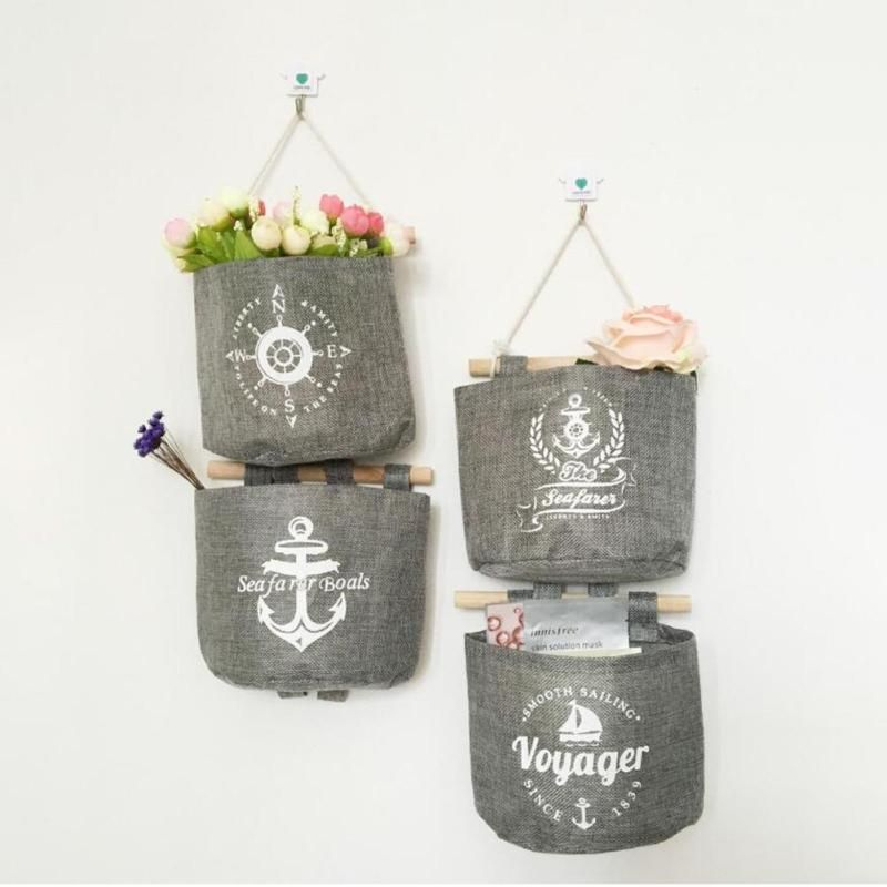 1Pc Storage bag Navy wind bag cotton and linen storage hanging bag combination boat anchor rudder & 1Pc Storage bag Navy wind bag cotton and linen storage hanging bag ...