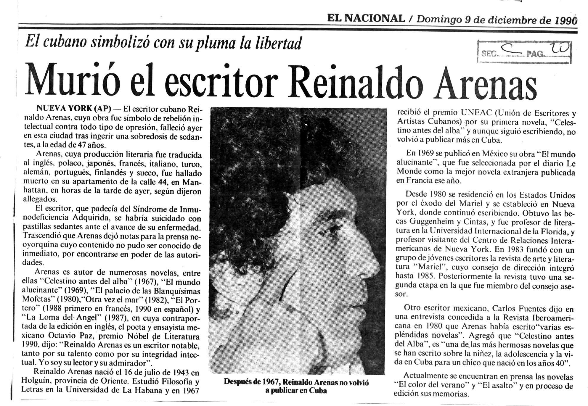 Murió El Poeta Cubano Reinaldo Arenas Publicado El 09 De