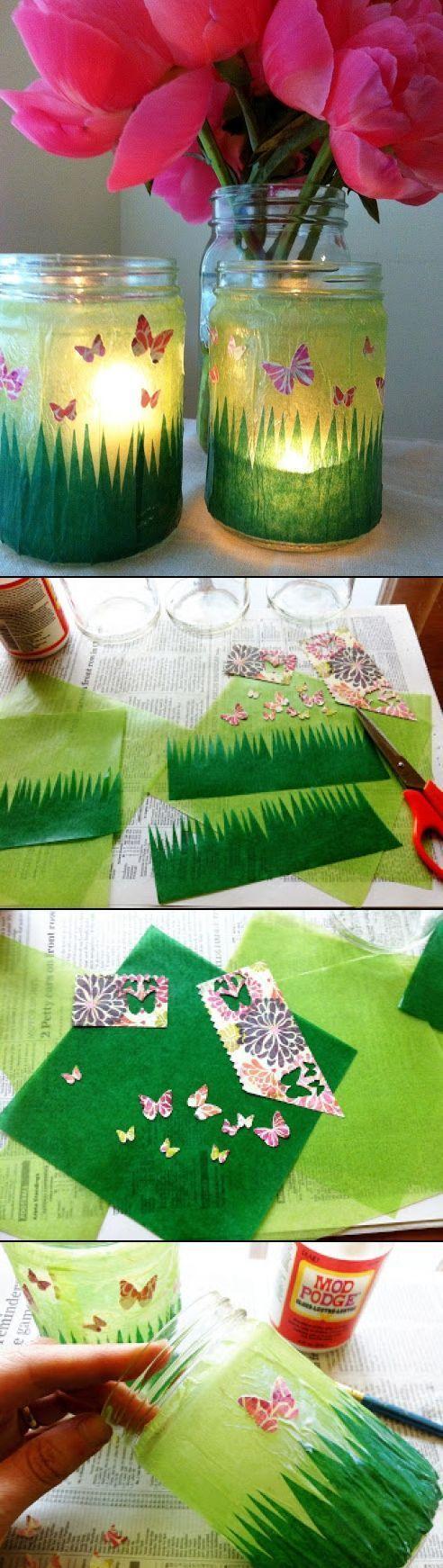 Kunst aus marmeladengl sern windlicht mit fr hlingswiese - Schulfest ideen ...