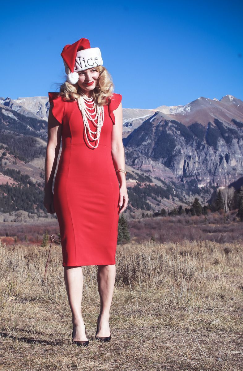 c65e23e660d1 Five Holiday Party Outfit Ideas | Fashion Blogger Erin Busbee in Telluride,  Colorado, wearing red ruffle shoulder dress from Nordstrom, by Felicia Co  and ...