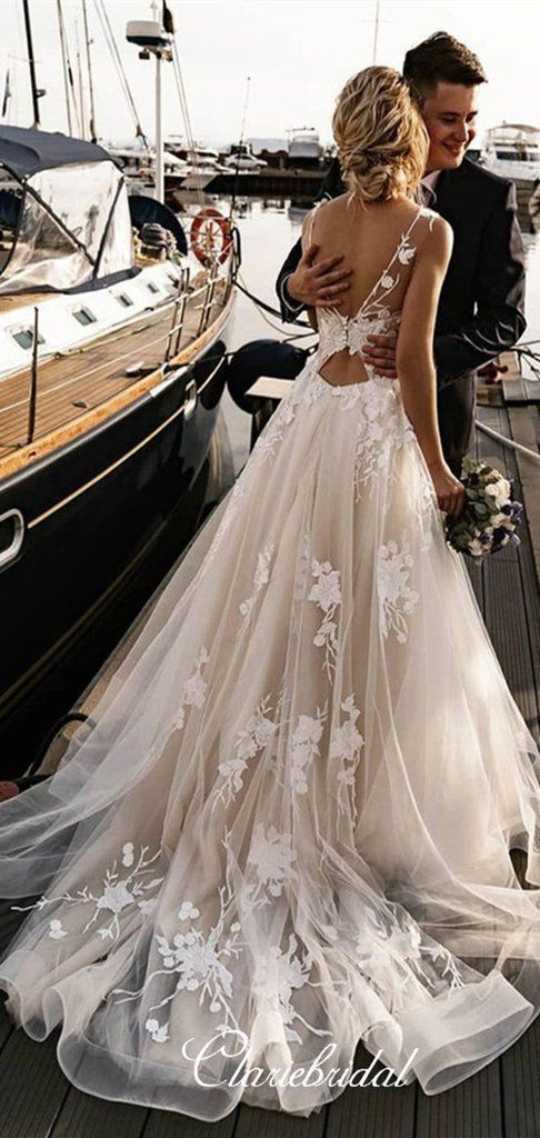 V-neck A-line Lace Tulle Rmantic Chic Long Wedding Dresses
