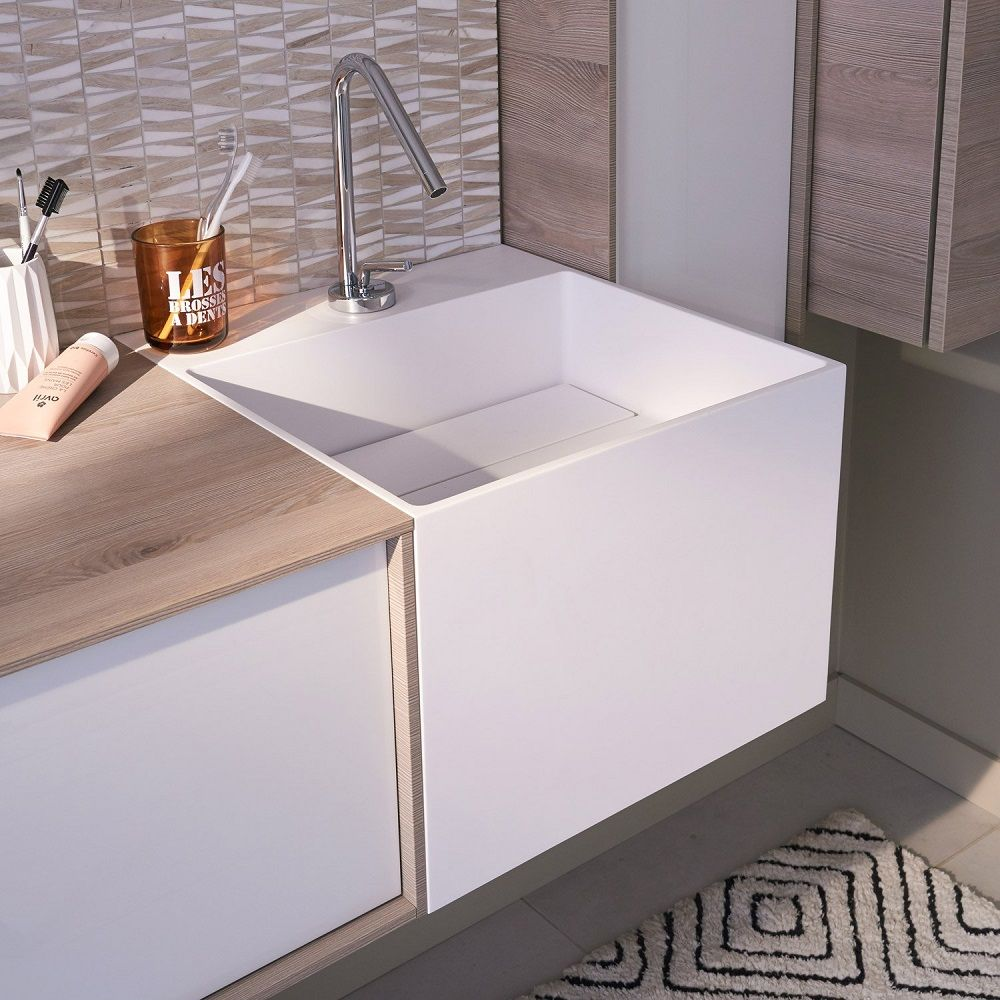 Plan Vasque Simple Cube Resine De Synthese Plan Vasque Pour