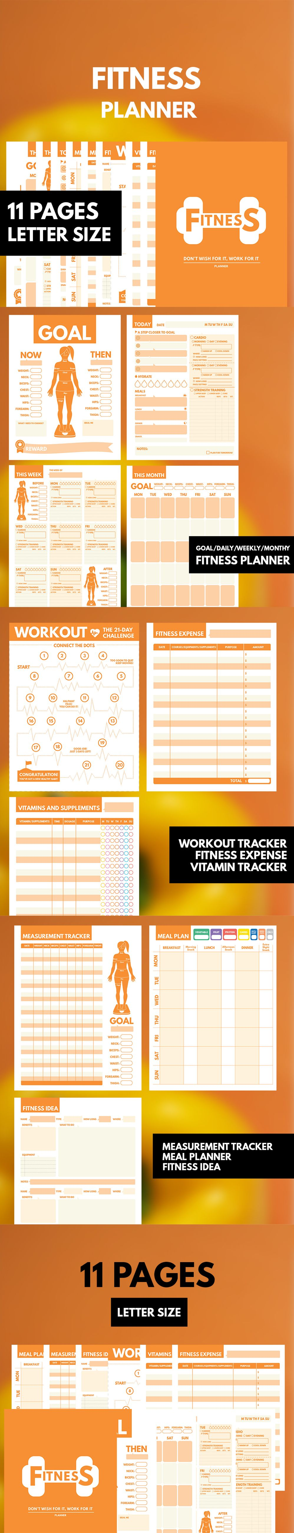 fitness planner printable letter  workout planner  fitness journal printable  health planner