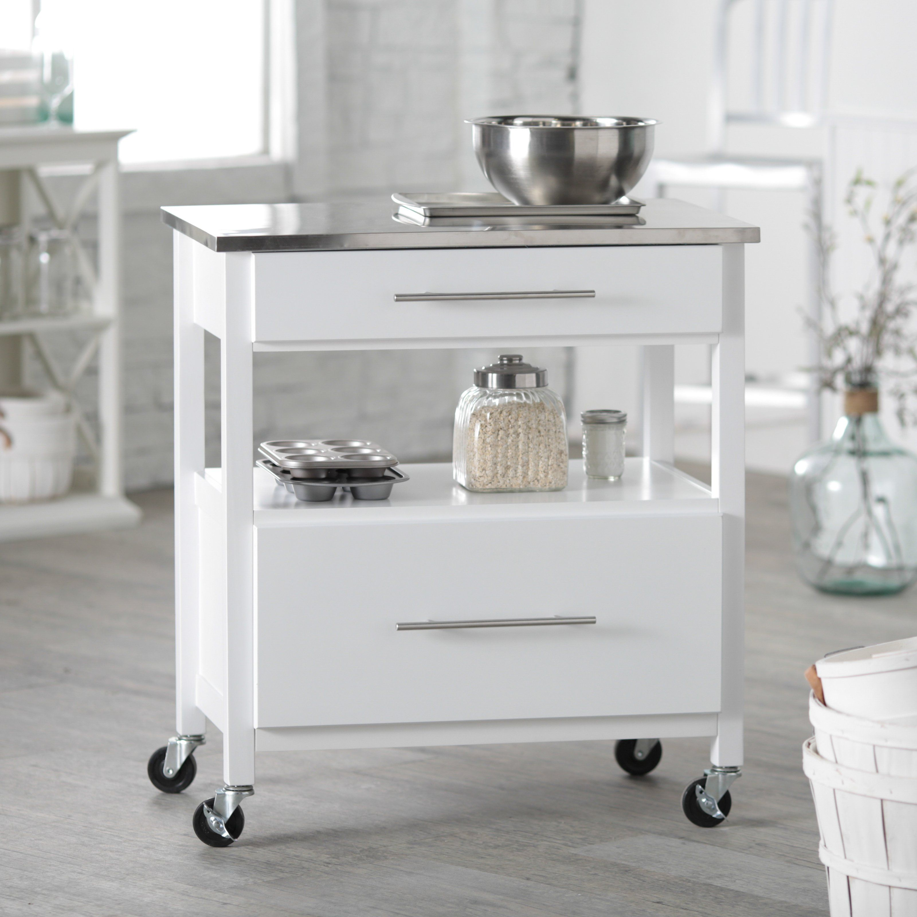 Have To Have It Belham Living White Mini Concord Kitchen Island With Stainless S Kitchen Island Dimensions White Kitchen Island Stainless Steel Kitchen Island