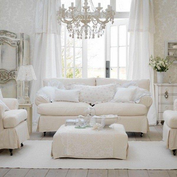Shabby Chic salon canapés marron | Shabby chic living room ...