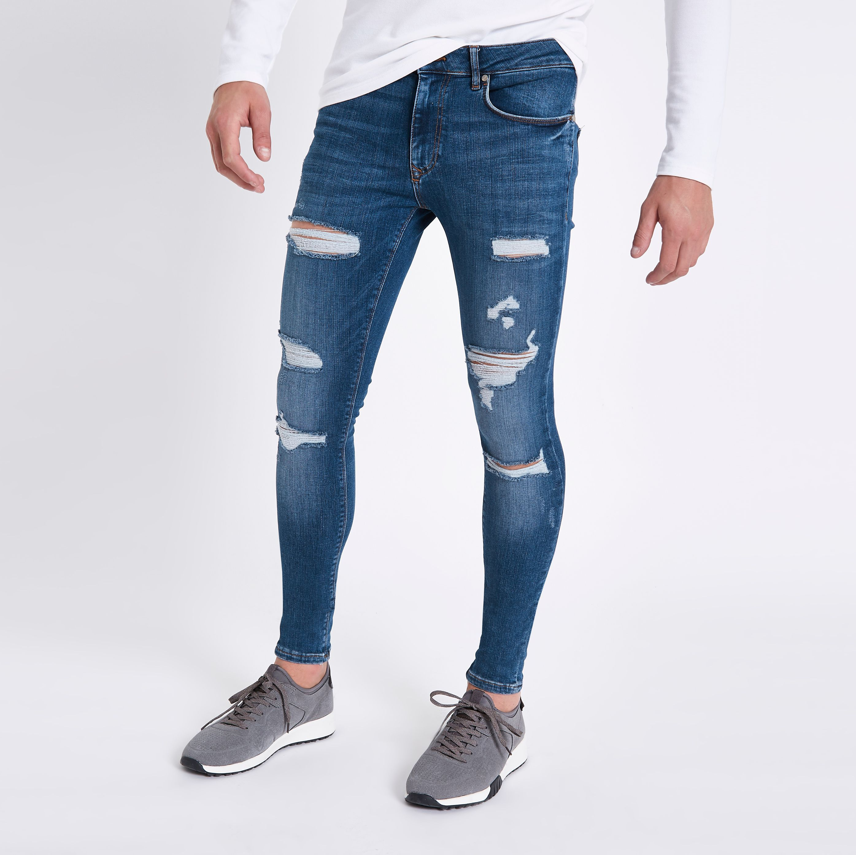 e67d1641933e Mid Blue ripped super skinny spray on jeans in 2019