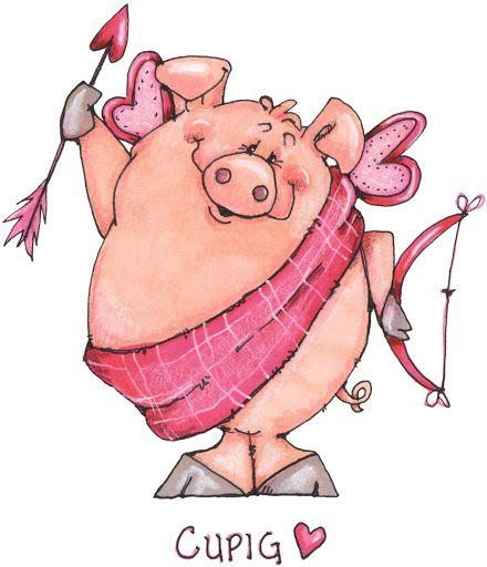 Valentine Pig Art Pig Valentines Cards